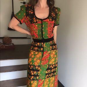 RARE Vintage 70s patchwork skirt set